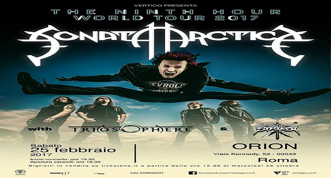 Sonata Arctica + Triosphere + Striker - Orion Club, Roma - 25 Febbraio 2017