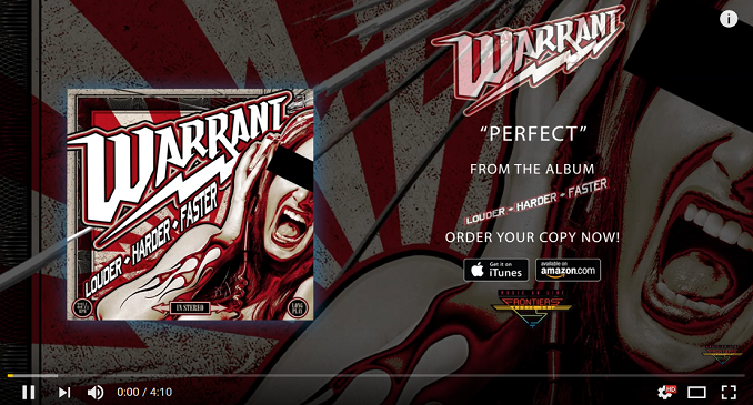 Warrant - Nuovo Brano on Line: 'Perfect'