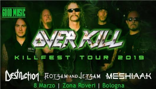 Spostato a Cesena il concerto di Overkill, Destruction. Info biglietti