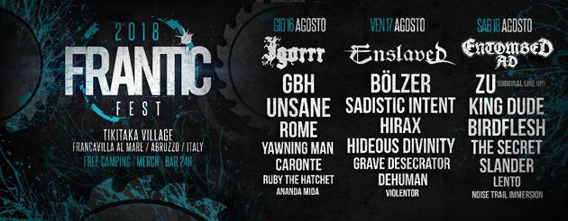 FRANTIC FEST - Il running order del festival