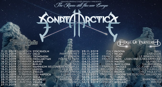 "Sonata Arctica - Il tour ""The Raven Still Flies Over Europe"" in Italia a novembre due spettacoli a Padova e Milano"