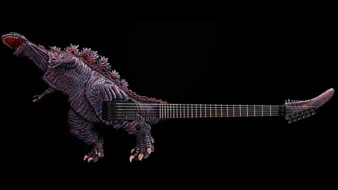 Una chitarra a forma di Godzilla da 50.000 dollari in edizione ultra limitata prodotta da ESP. Led sulla coda, cioé sul manico!