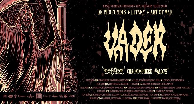 """Vader - In Italia a marzo per due date per l' """"Anniversary Tour 2020"""". Con loro Defiled, Chronosphere, Fallcie"""